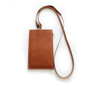 XL Cognac Travel Purse (Cellphone Case) attached to Leather Strap