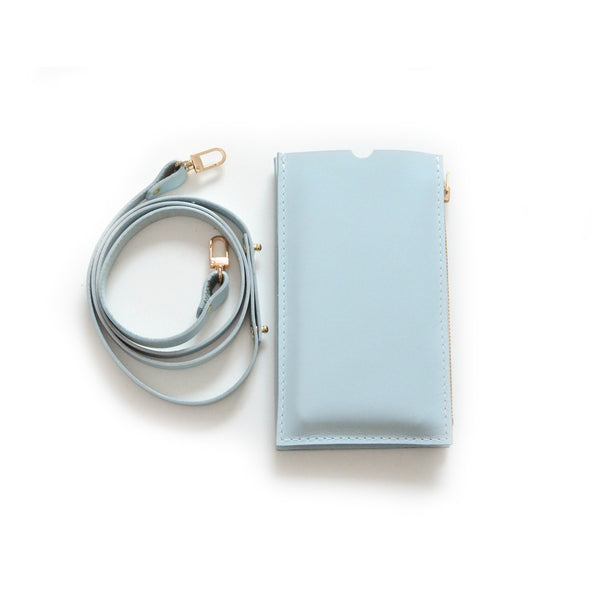 Powder Blue Travel Purse (Cellphone Case) with leather strap