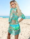 Teal Flora Coverup - Short