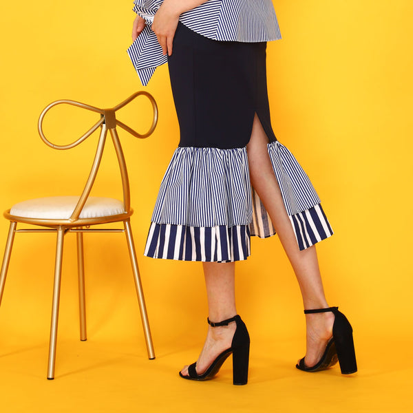 Mermaid Skirt with Stripe Ruffles