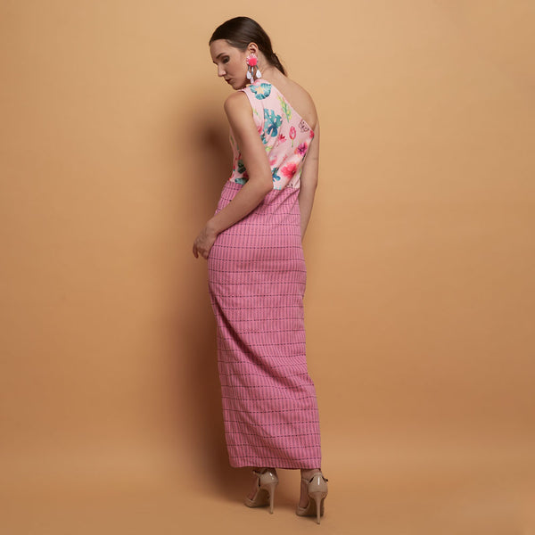 Kendall Sleevless Dress in Pink Bliss With Tenun