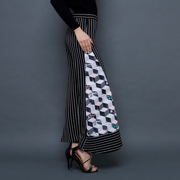 Basic Cullote Pants Black With Subway Art-2MADISONAVENUE.COM