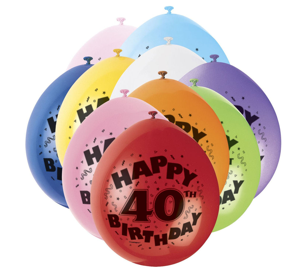 40th Birthday Latex Balloons - 10 Pack - Party Perfecto