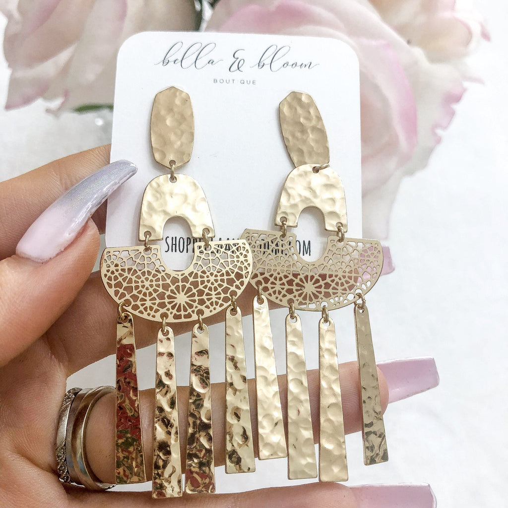 RESTOCK: Hammered Fringe Earrings: Gold - Bella and Bloom Boutique