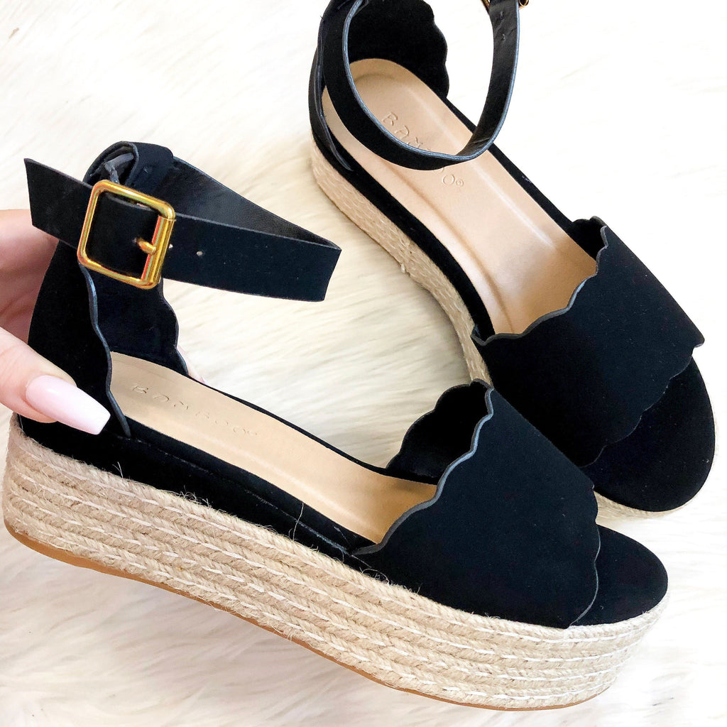 RESTOCK: Chloe Scalloped Flatform Espadrille Sandals: Black - Bella and Bloom Boutique