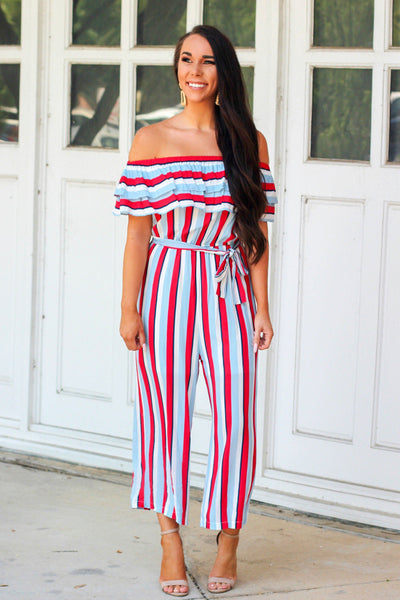 Sparks Fly Jumpsuit: Red/White/Blue - Bella and Bloom Boutique