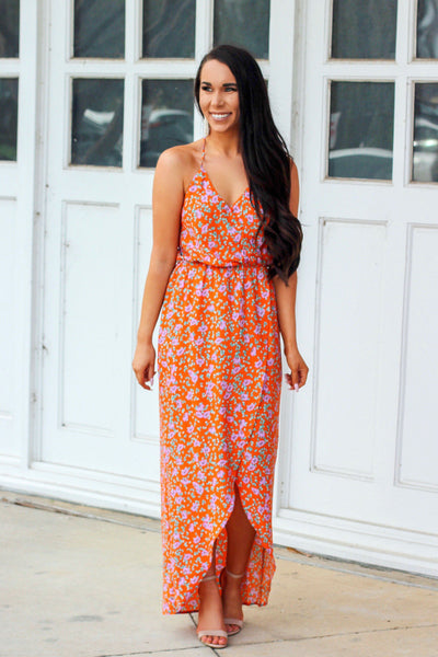RESTOCK: On My Mind Maxi Dress: Orange Multi - Bella and Bloom Boutique
