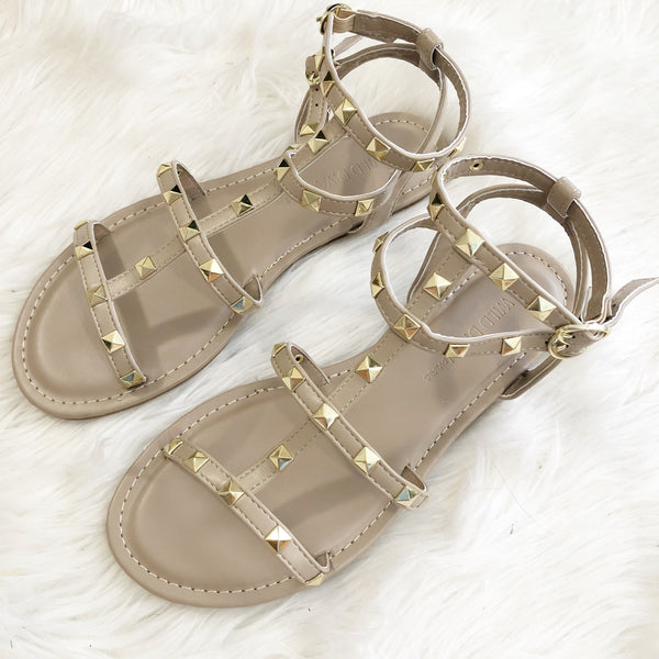 RESTOCK: Caitlin Studded Sandals: Nude - Bella and Bloom Boutique
