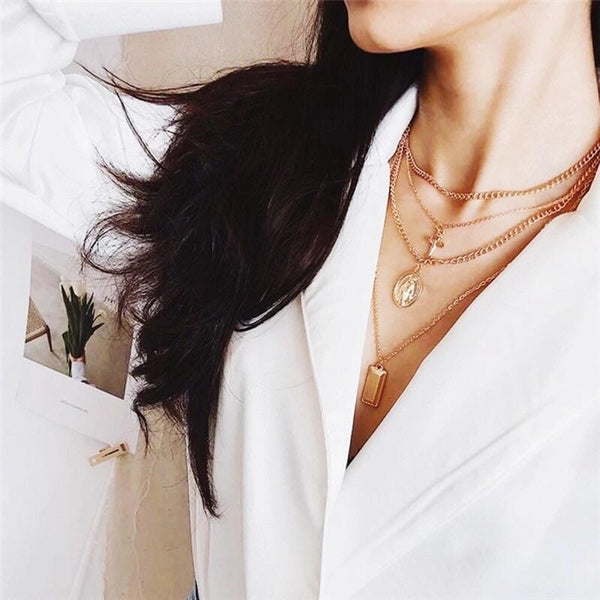 Layered Cross Necklace: Gold - Bella and Bloom Boutique