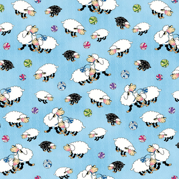Knit chicks Blue Sheep Allover Fabric 1456-11 from Henry Glass by the yard