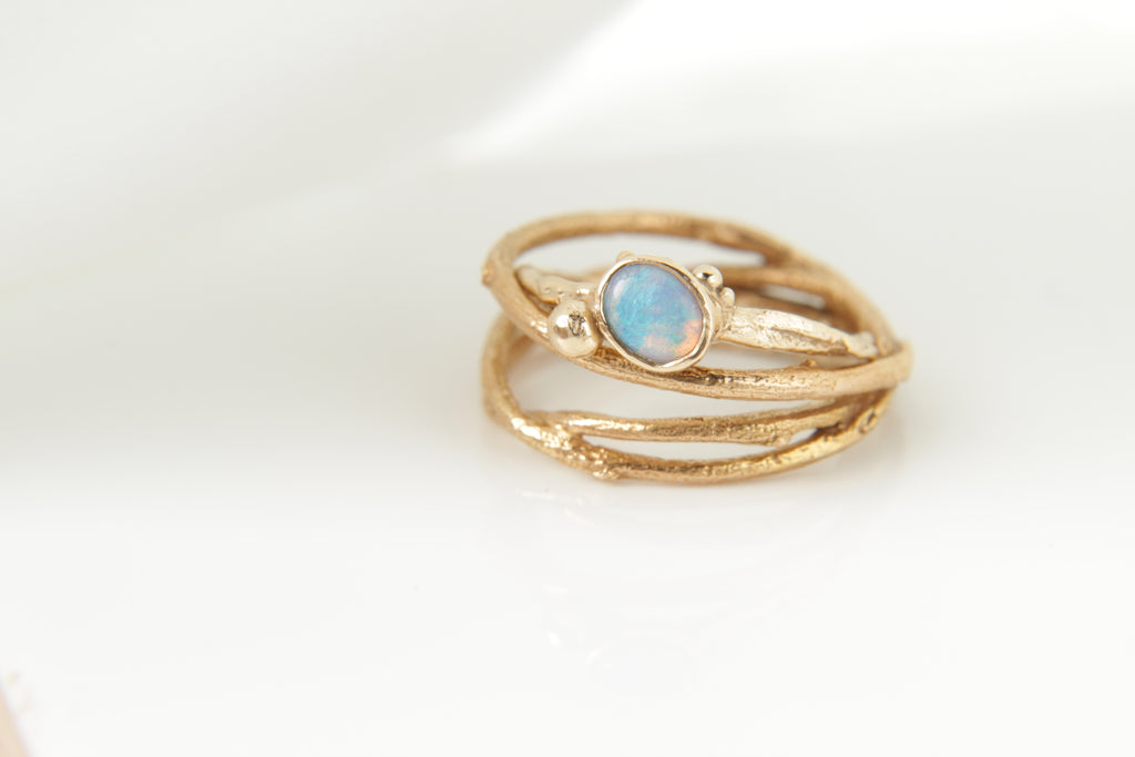 Opal & Gold Tree Ring Stack