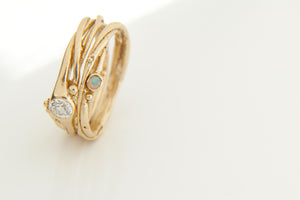 Diamond & Opal Gold Tree Ring Stack