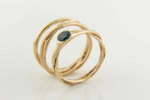 Topaz & Gold Tree Ring Stack
