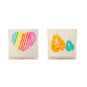Fluf Reusable Snack Bags Set of 2 Rainbow Heart and Pears