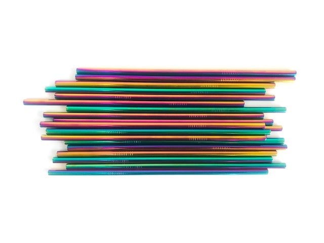 Eco Beau Reusable Rainbow Stainless Steel Straw Straight