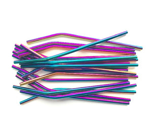 Rainbow Stainless Steel Reusable Straw (Bent)