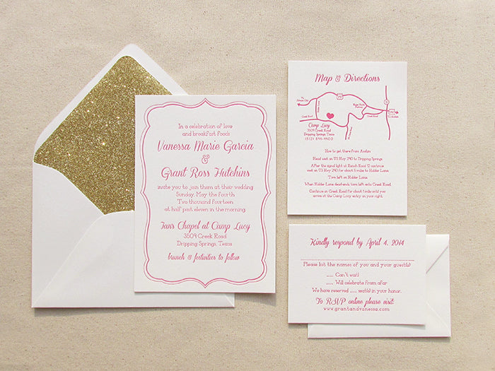 Hot Pink and Gold Wedding Invitations