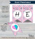 He or She Bunting Gender Reveal decoration Pink Blue Girl or Boy Flags Baby Shower Party decoration, Printable Digital File INSTANT DOWNLOAD