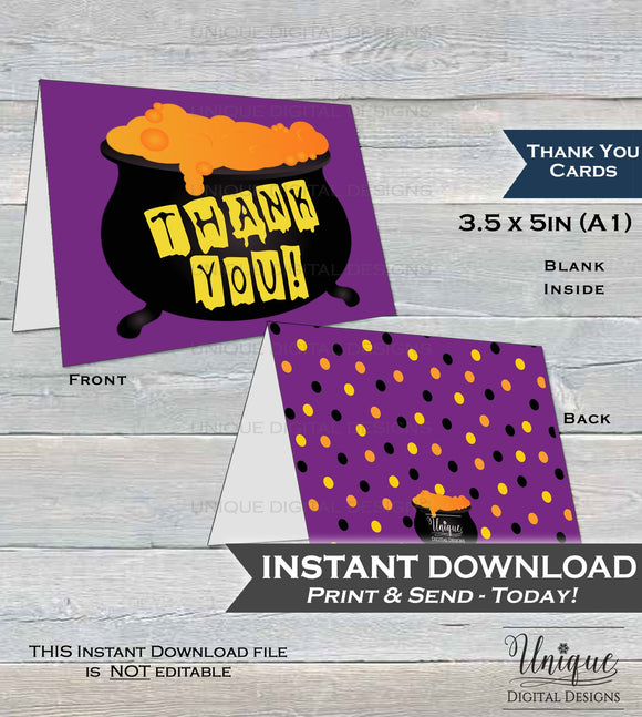 Halloween Thank You Card, Halloween Birthday Thank You, Witch Thanks, Folded Card, Spooky Cauldron Printable Thank You INSTANT DOWNLOAD A1
