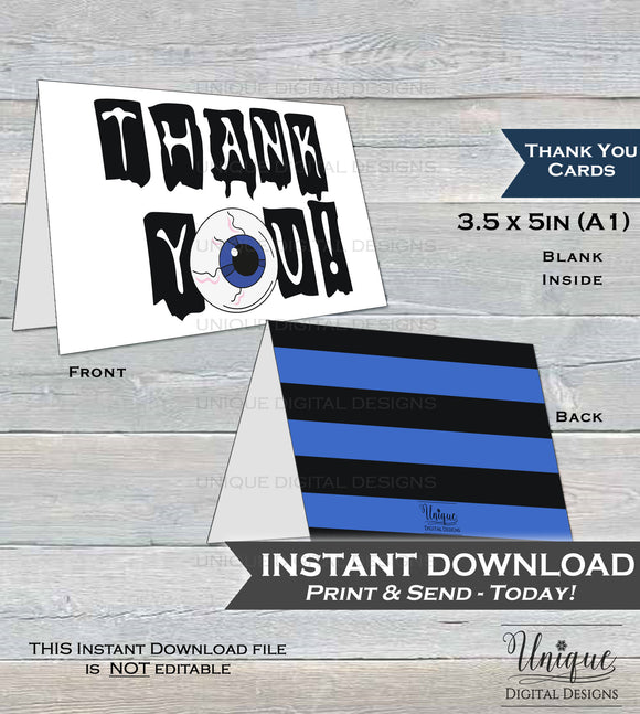 Thank You Card Halloween Birthday Printable Thank You Spooky Scary Party Thanks Folded Card, Birthday Thank you Eyeball INSTANT DOWNLOAD A1