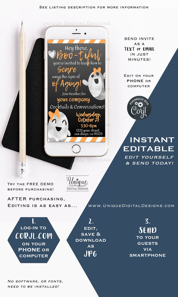 Rodan and Fields Invitations, Halloween Hello Boo-tiful Ghost Editable RF Business Electronic Invitation Digital Smartphone INSTANT DOWNLOAD