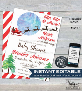 Up Up and Away Christmas Baby Shower Invitation, Editable Baby Boy Santa Invite, Christmas Holiday Template Printable INSTANT DOWNLOAD 5x7