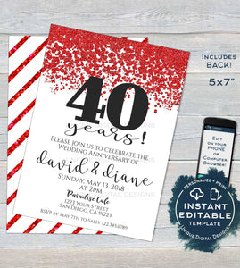 40 year Anniversary Invitation, Editable 40th Wedding Anniversary Ruby 40th Surprise Party Invite Custom Printable Template INSTANT DOWNLOAD
