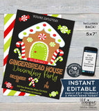 Editable Christmas Gingerbread House Decorating Party Invitation, Christmas Invite, Gingerbread Holiday Party, Printable INSTANT DOWNLOAD