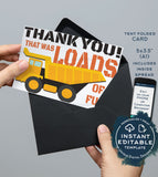 Truck Thank You Card, Editable Construction Printable, Loads of Fun Birthday Thank you Folded Card, Includes Inside Spread INSTANT DOWNLOAD