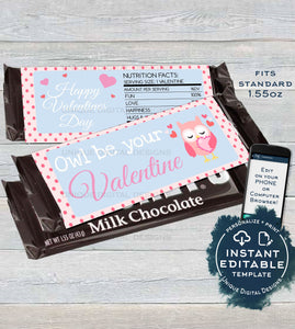 Editable Owl Valentines Day Candy Bar Wrapper, Love Chocolate Bar Owl be yours decoration, Valentine Gift Printable INSTANT DOWNLOAD 1.55oz