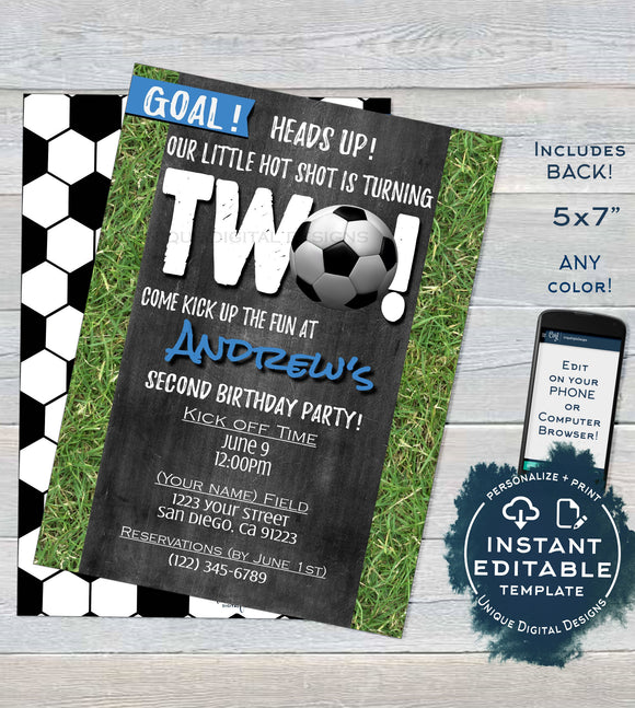Soccer Birthday Invitation, Editable Boy Second Birthday Invite Score Goal Two Soccer Kickoff Chalkboard Template Printable INSTANT DOWNLOAD