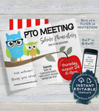 PTA Meeting Invitation, Editable Parent Teacher Invite, pto ptsa School Meeting Flyer Digital Printable Template INSTANT DOWNLOAD 5x7 8.5x11