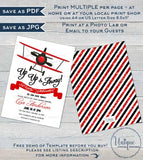Airplane Baby Shower Invitation, Editable Airplane Boy Baby Shower Invite, It's a Boy Up Up & Away Baby, Printable Custom INSTANT DOWNLOAD