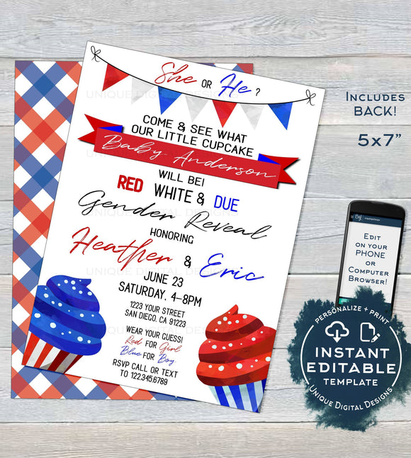 Gender Reveal Invitation, Editable Red White and Due 4th of July Memorial Day Cupcake Baby Shower, July 4th Party Printable INSTANT DOWNLOAD