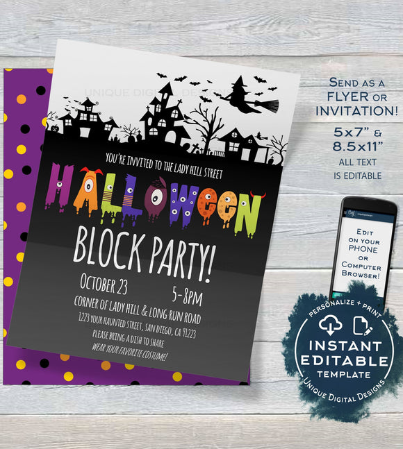 Halloween Block Party Invitation, Editable Street Party Invite, Neighborhood Costume Party Flyer, Backyard BBQ Printable INSTANT DOWNLOAD