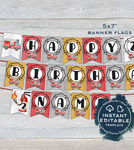 Fire Truck Banner Template, Editable Firefighter Birthday Bunting Flags, Firetruck Theme Birthday Decor, Printable Template INSTANT DOWNLOAD