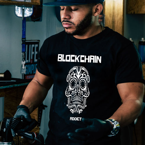 Blockchain Addict Men's Fitted Short Sleeve Tee