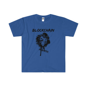 BLOCKCHAIN MONSTER Men's Fitted Short Sleeve Tee