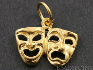 24K Gold Vermeil Over Sterling Silver Drama Mask Charm-- VM/CH10/CR18