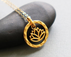 Gold Vermeil Over Sterling Silver Lotus Circle Bloom Charm -- VM/CH2/CR98