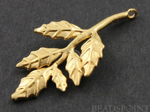 24K Gold Vermeil Over Sterling Silver Autumn Leaf Charm -- VM/CH4/CR24