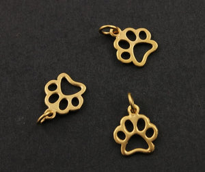 24K Gold Vermeil Over Sterling Silver Paw Charm-- VM/CH7/CR52