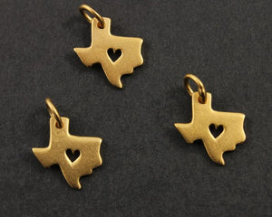 24K Gold Vermeil Over Sterling Silver Texas State with Heart Charm-- VM/CH10/CR51