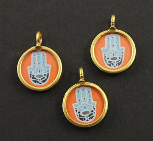 Gold Vermeil Over Sterling Silver Hand Painted Hamsa Charm -- VMTCH-30