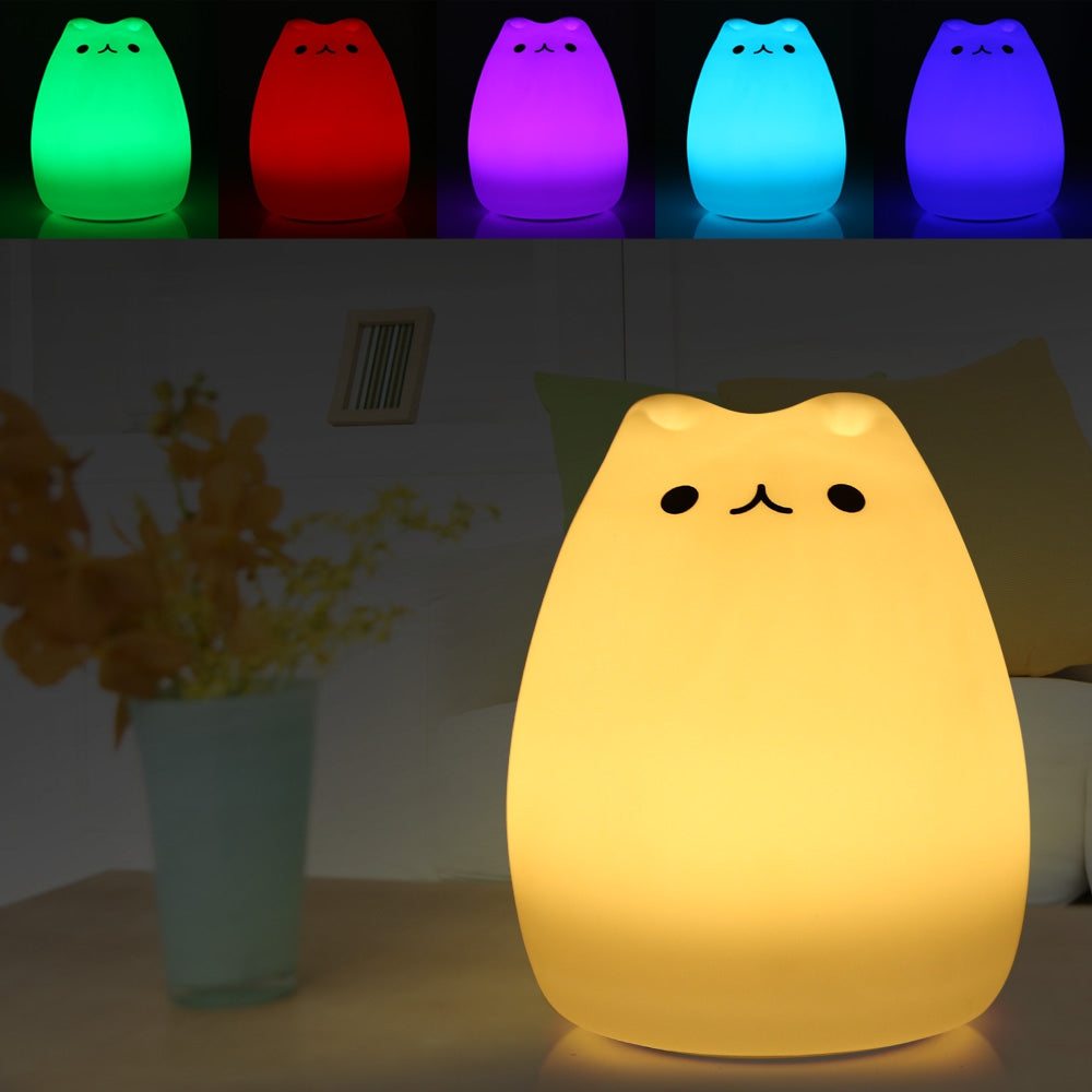 Cat Night Light (Multicolored, USB-Chargeable)