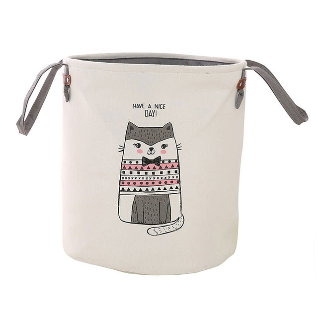 Foldable Round Storage Basket - Pink Cat
