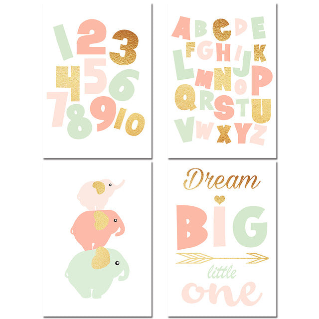 Canvas Poster Set - Elephants, Alphabet, Numbers, Slogan