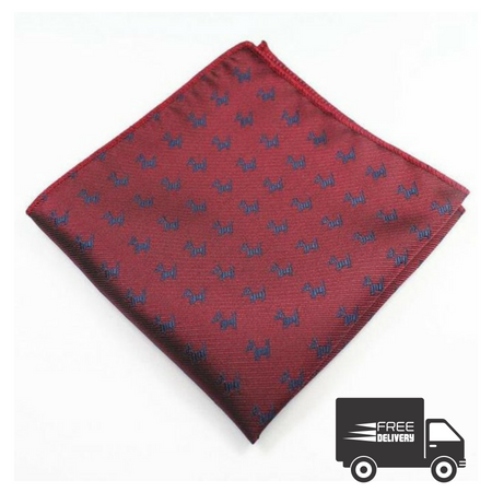 Red Puppy Pocket Square