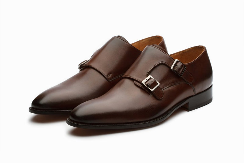 Plain Toe Double Monkstrap - Brown