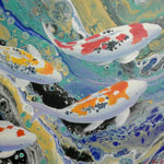 """Carps in Harmony"" by Wabe, Mixed Media on Canvas"